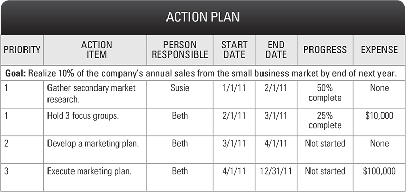 Example Sales Action Plan Sample Minimfagencyco - Business action plan example