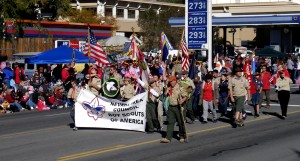 Nevada Area Council Boy Scouts march in the 2010 Nevada Day Parade