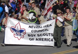 Nevada Area Council Boy Scouts march in the 2010 Nevada Day Parade. Photo by Vanessa Lindeberg of OnStrategy