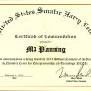 Certificate of Commendation from United States Senator Harry Reid